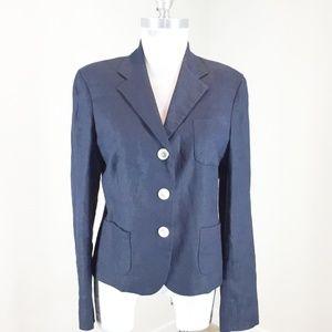 Ralph Lauren Women's Linen Fitted Blazer Blue 8
